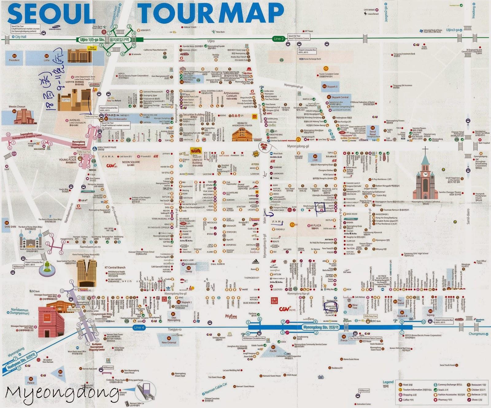 Seoul map english tourist seoul south korea tourism map new zone entree kibbles myeongdong market lotte mart day six of my myeongdongmapmyeongdongmarketlottemartdaysixofmyseoul jejukoreatrip gumiabroncs Choice Image