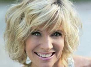 . Layered Blonde Wavy Bob