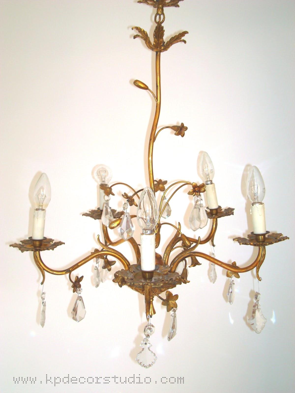Kp decor studio l mpara de l grimas a os 50 chandelier for Lamparas vintage baratas