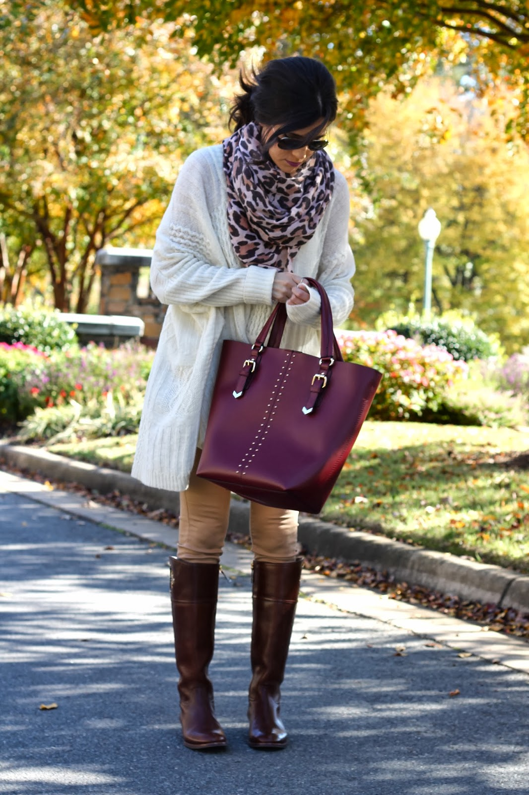 leopard print scarf, oversized sweater, baggy sweater, kiernan riding boots, tory burch riding boots, kiernan boot, aldo, rayban aviators, emily gemma, the sweetest thing blog, forever 21 pants