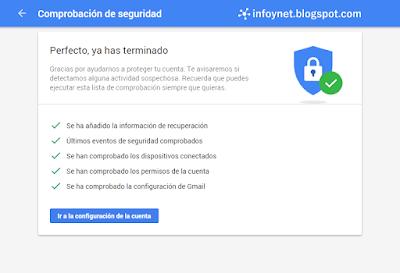 Comprobación de seguridad de Google terminada