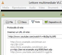 aprire flussi di rete con VLC