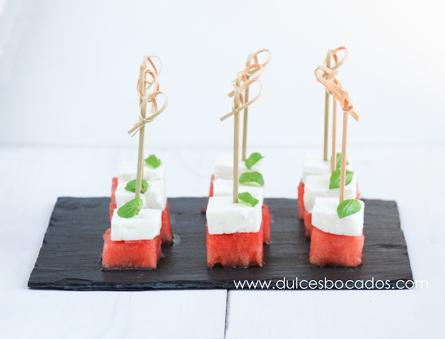 Pincho de sandia con queso feta