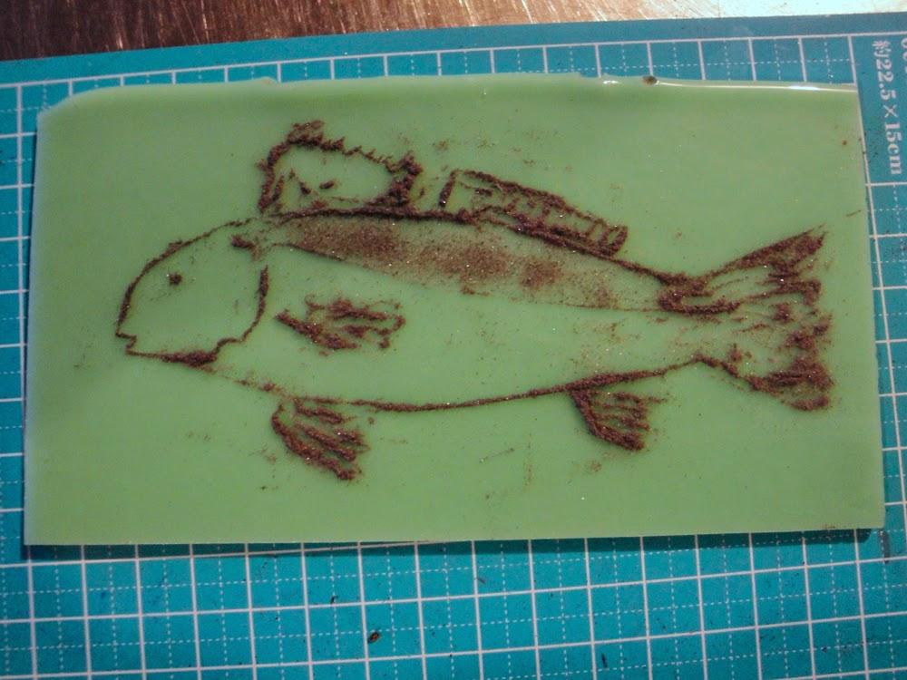 glass powder bullseye sgraffito fused frit painting fish red drum redfish art flutterbybutterfly flutterbyfoto day 6