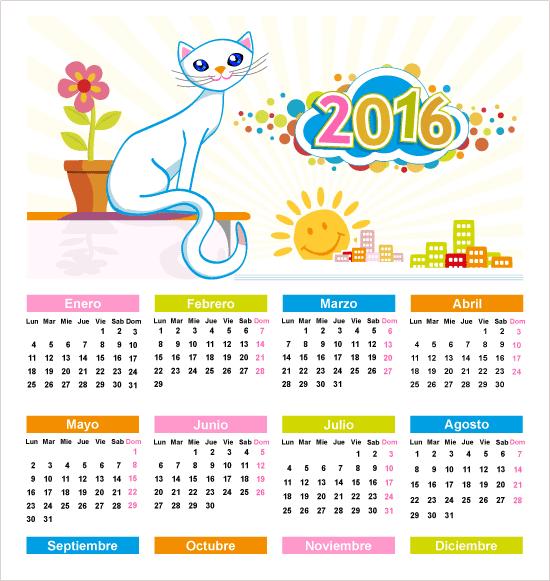 Calendario 2016 con gatita editable en español