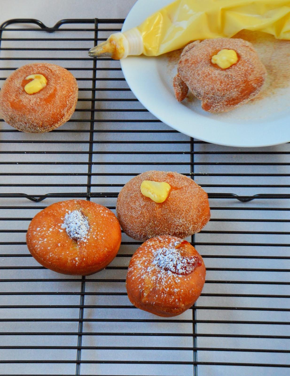 Strawberry Jelly and Vanilla Custard Stuffed Doughnuts (Sufganiyot ...