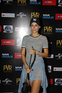 Mandana Karimi in Slaty Short Dress at Jurassic World Premiere At PVR