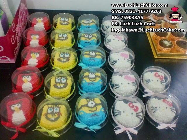 Mini Tart Angry Bird, Spongebob, Minion, Hello Kitty Souvenir Ulang Tahun