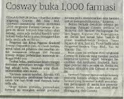 E COSWAY FARMASI IN NEWS