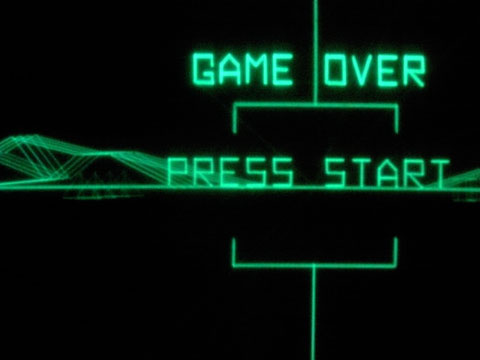 GAME OVER.... PRESS START.... Screen shot from the Atari game BattleZone from 1980.