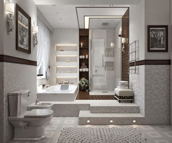 White Modern Bathroom Designs With Double Different Heights