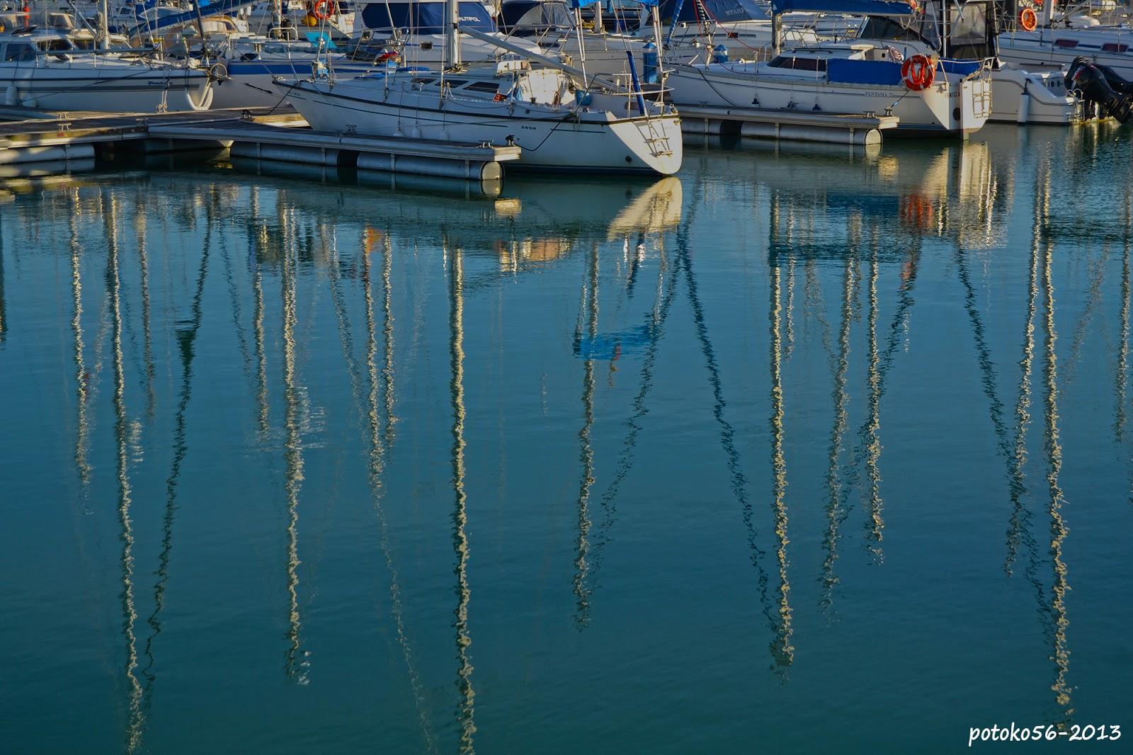 Distorsión de mastiles reflejados en el Agua