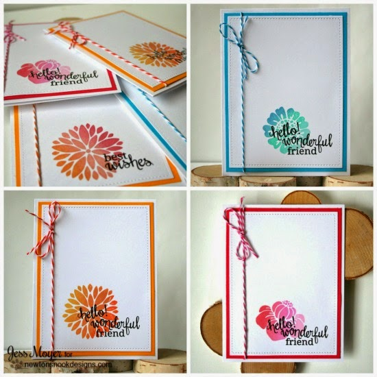 Clean and Simple Card set by Jess Moyer | Fanciful Florals Bold Flower Stamp set by Newton's Nook Designs