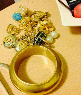 Ysl arty, vintage bangle, chanel earrings, vintage chanel, vintage gold, jewelry, MMM jewelry, Banana Republic ring, ysl, ysl inspired, pearl earring, ebay, givenchy, givenchy bracelet,