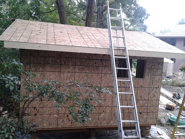 One side of the roof is done.