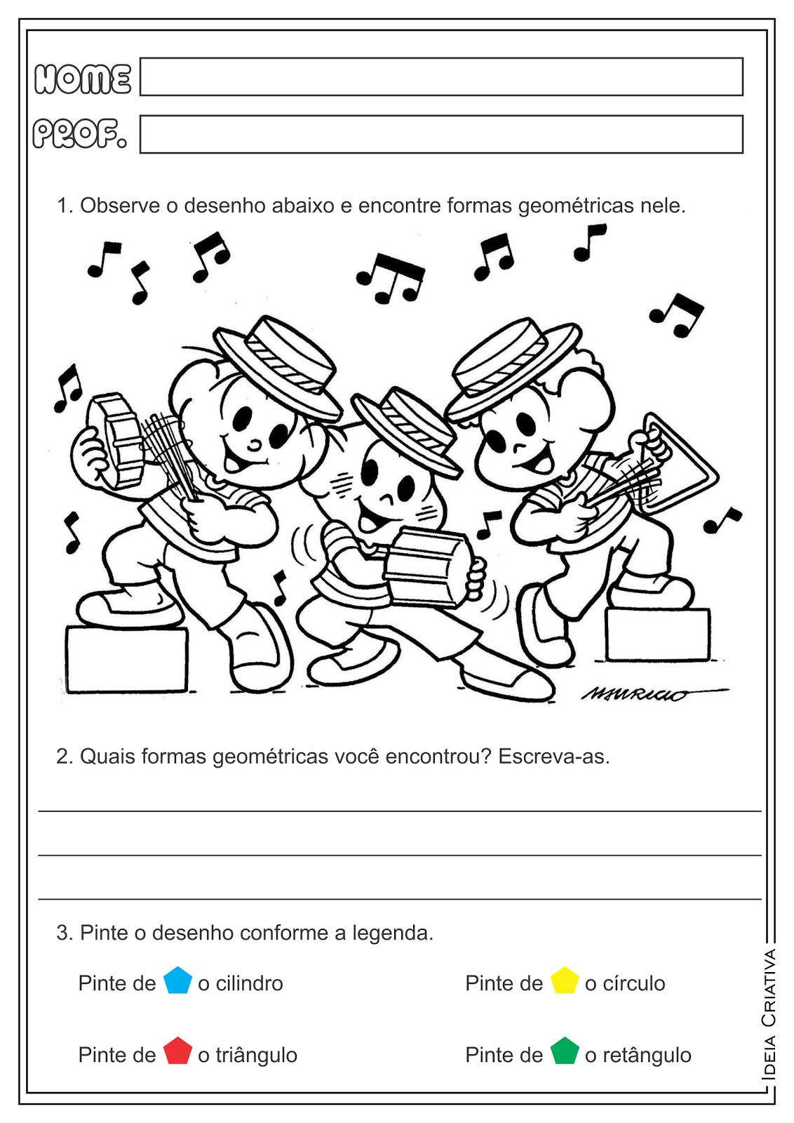 Atividades Formas Geométricas Geometria Carnaval Turma da Mônica