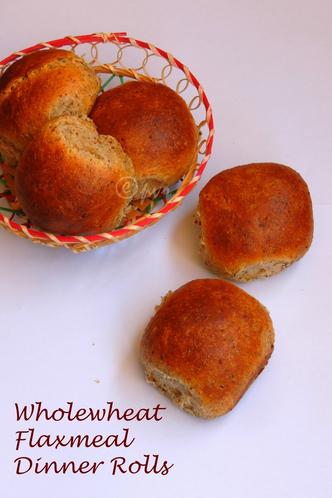 No Butter Wholewheat flaxmeal Dinner Rolls