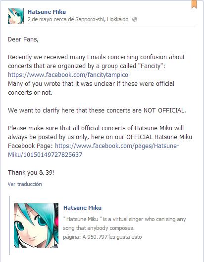 facebook hatsune miku comunicado