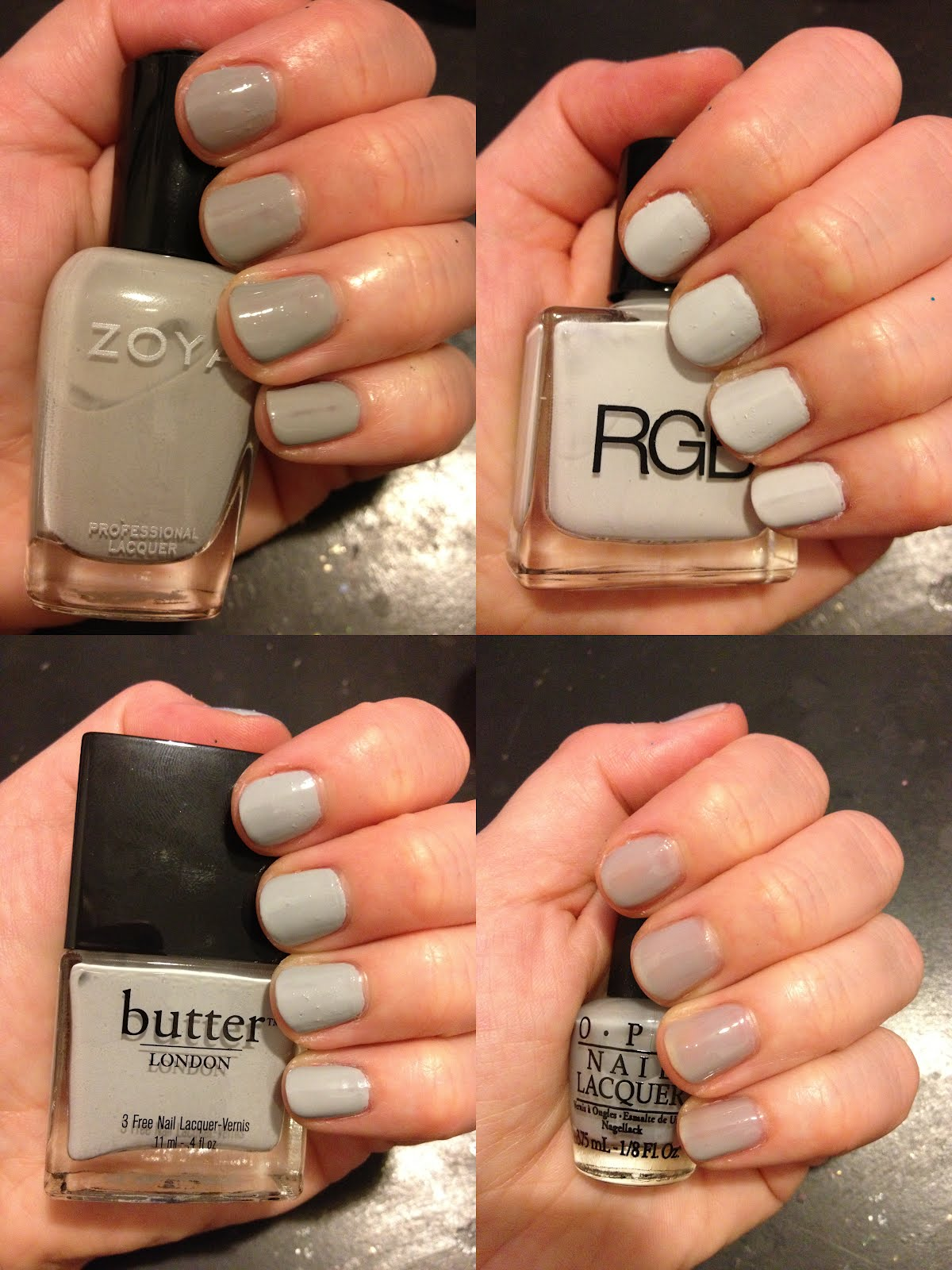The Beauty of Life: Dove Grey Nail Polish Comparison Swatches