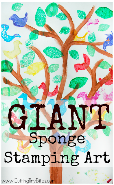 Giant sponge stamping art project for kids. Make a tree form and let your preschooler or elementary child stamp leaves and birds with paint to make a beautiful work of art!