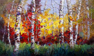 "Oil Change Dallas >> Niki Gulley: ""Symphony of Colors"" New Textured Aspen Tree oil painting by Niki Gulley"
