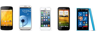 Nexus 4 vs iPhone 5, Samsung Galaxy S III, HTC One X+, Nokia Lumia 920