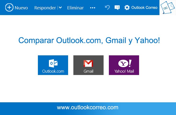 comparación outlook.com gmail y yahoo