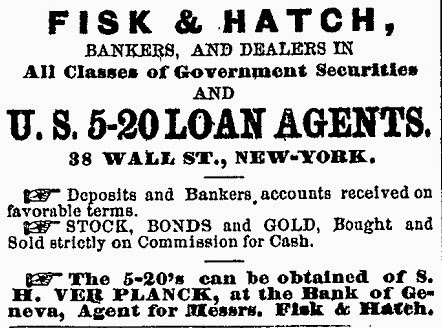Newspaper ad for 5-20 bonds