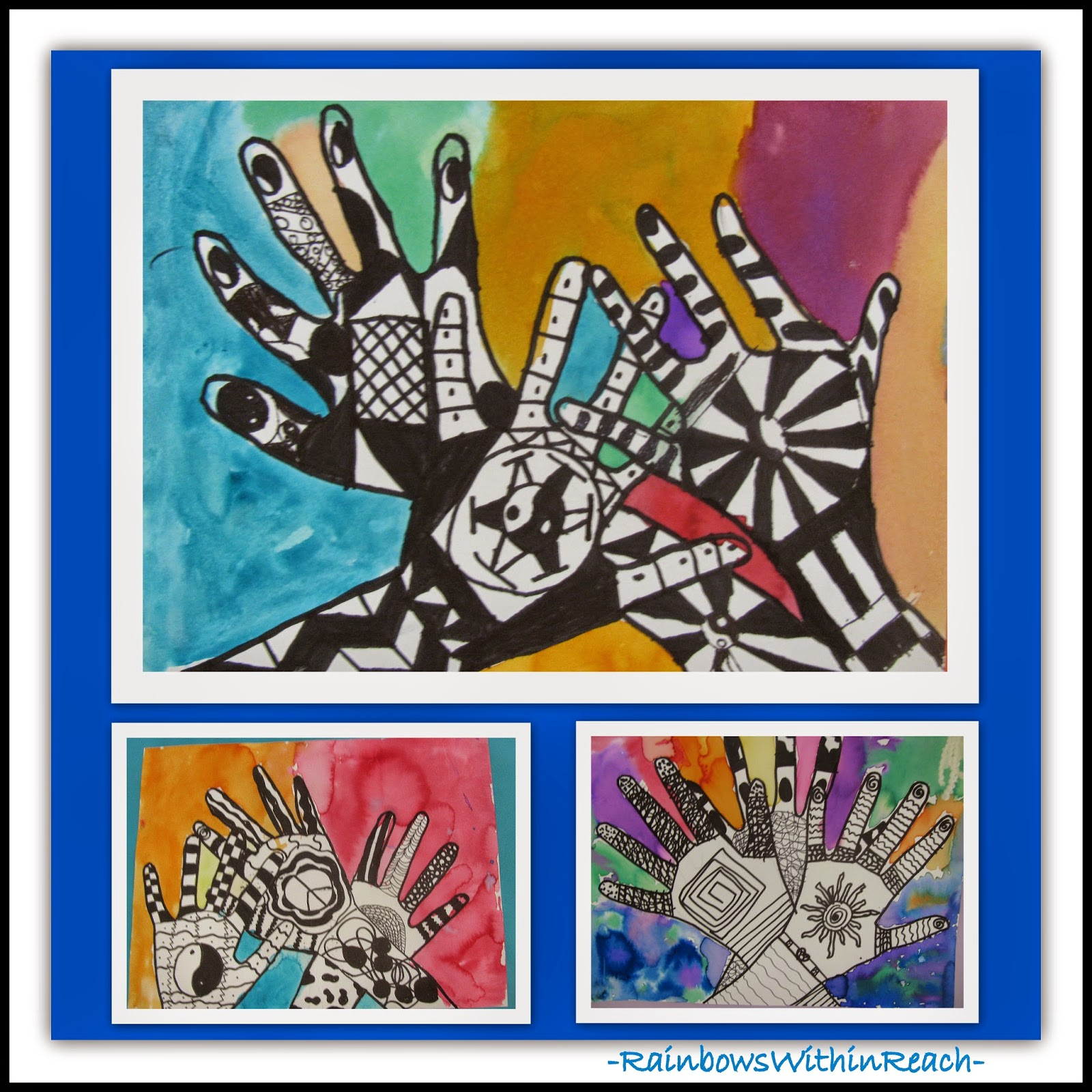 Hands with Zentangle Art Design at RainbowsWithinReach