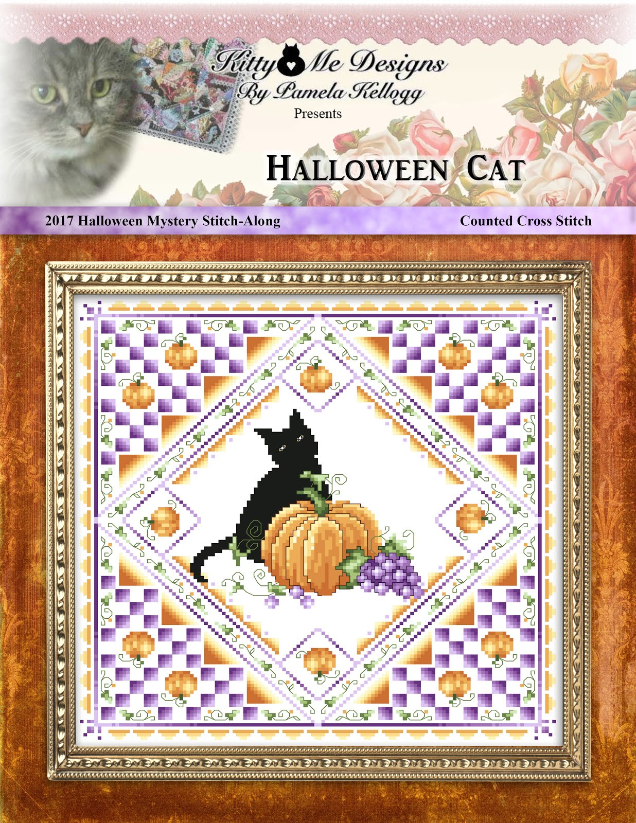 Halloween Cat Cross Stitch Pattern