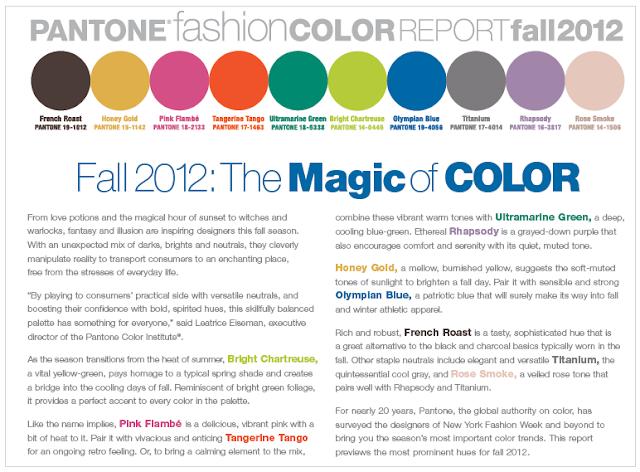 Trends Pantone Fashion Color Report Fall 2012