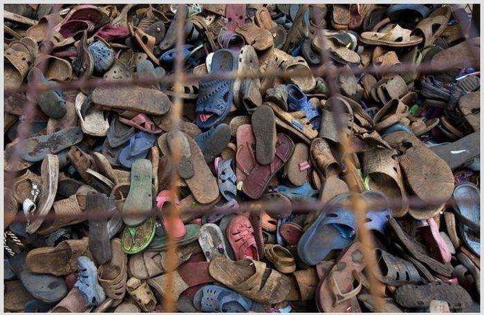 What will these old shoes become after the recycling?