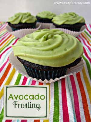 Avocado frosting on a chocolate cupcake with title