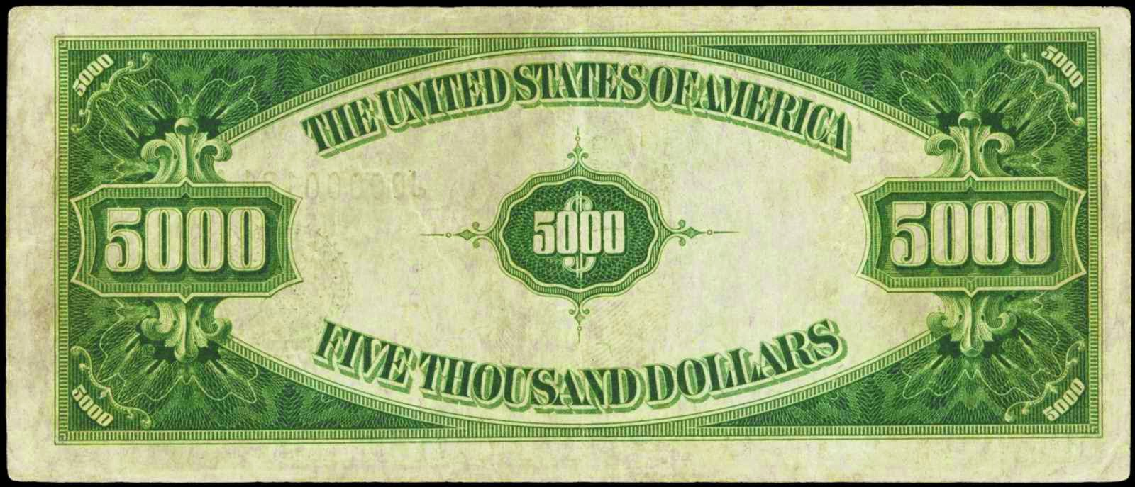 United States Old Five Thousand Dollar Note Bill