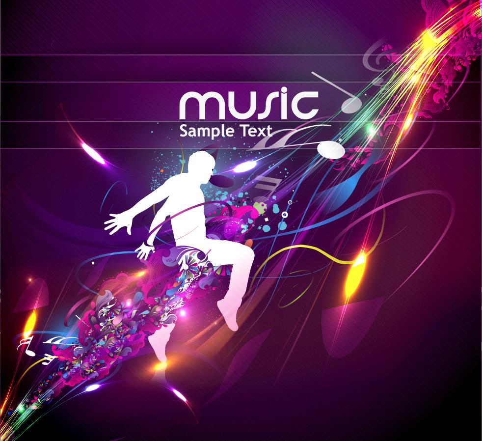音楽を楽しむシルエットの背景 trend of musical elements background イラスト素材