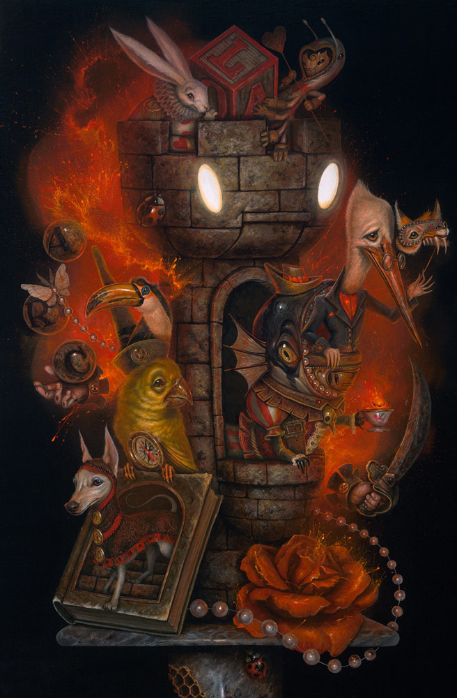 07-The-Castle-Meeting-Greg-Craola-Simkins-Fantastical-Surreal-Paintings-Full-of-Details