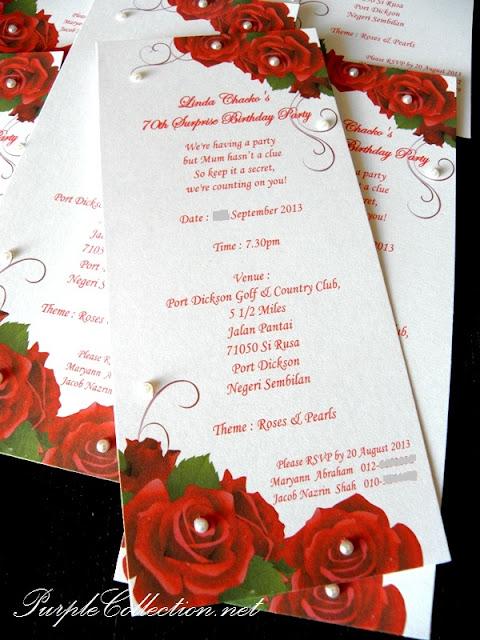 roses birthday invitation card, pearls invitation card