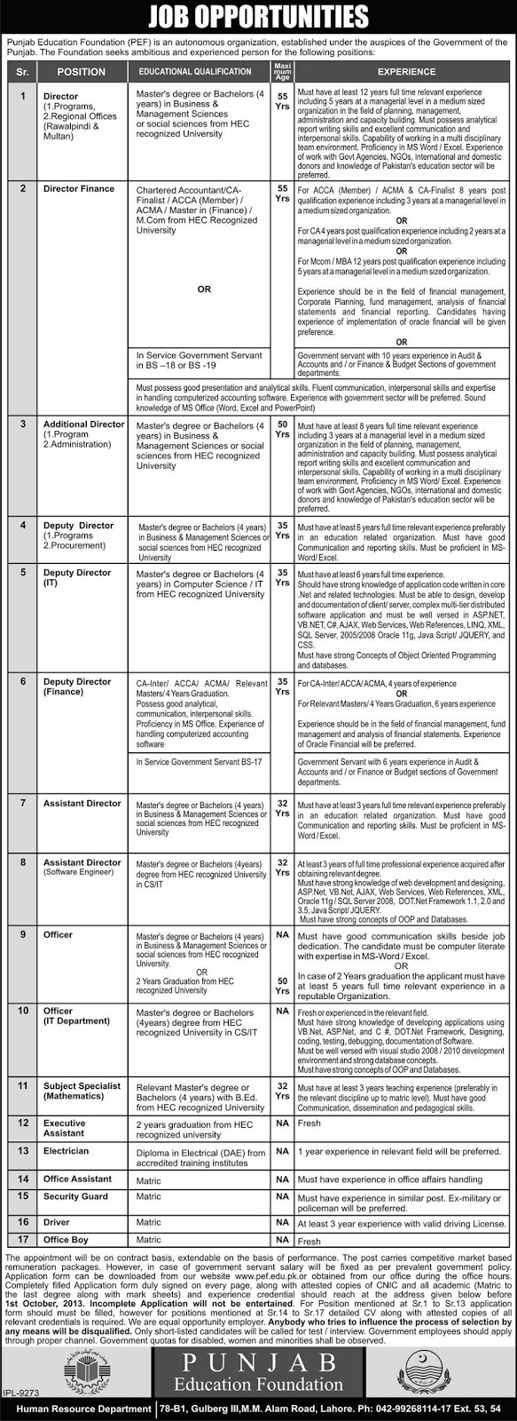 Directors, Officers, Assistant and Other Jobs in Punjab Education Foundation, Lahore