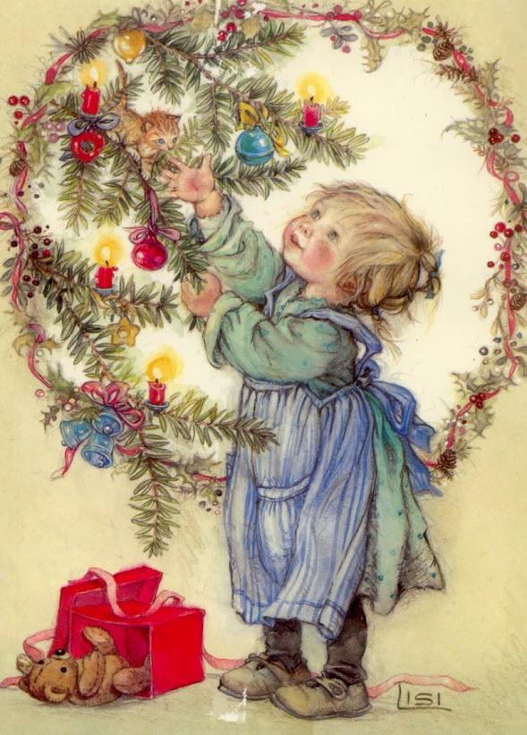 Navidad vintage postal - Postal navidena infantil ...