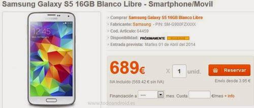 Precios del Samsung Galaxy S5