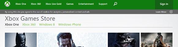 Captura de pantalla de la cabecera de Xbox Marketplace