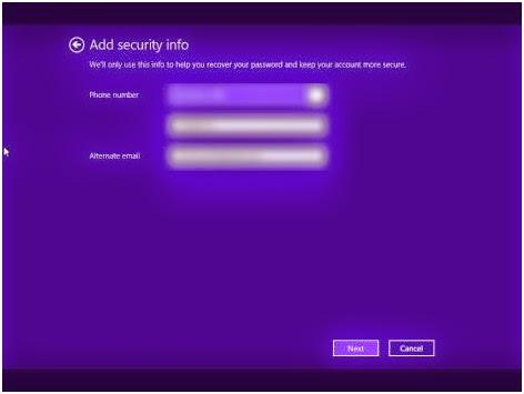 menu Keamanan akun pengguna
