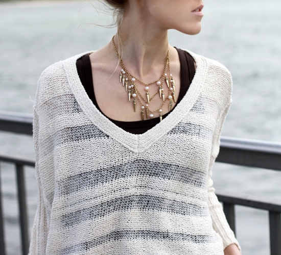Forever 21 Spike And Pearl Beads Statement Necklace Free People Spending Time Pullover