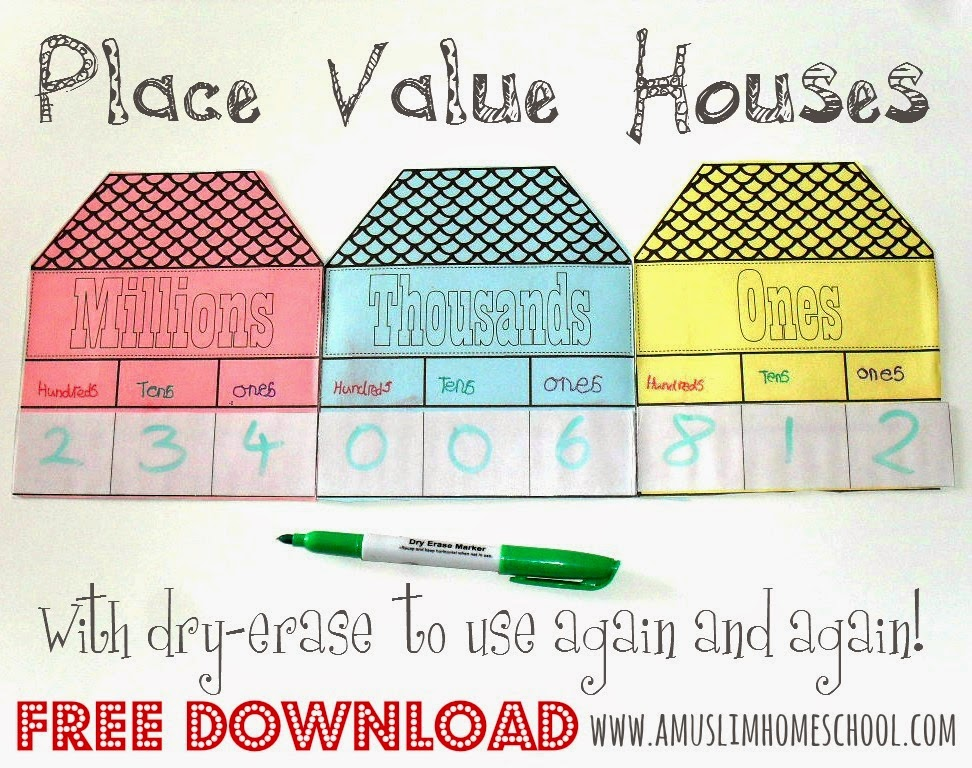Place Value Houses interactive math note book