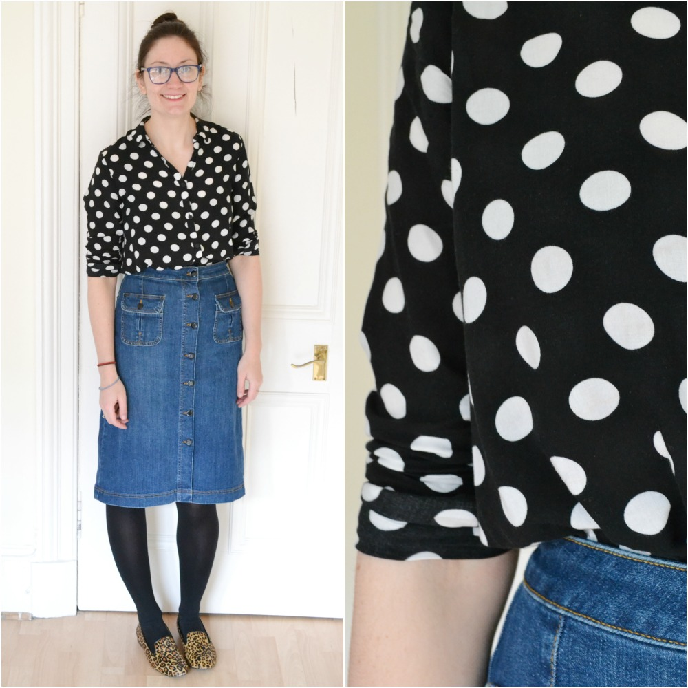 polka dot shirt H&M denim button seventies skirt M&S leopard slippers shoes outfit