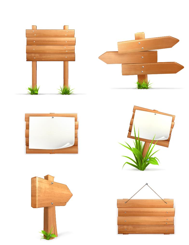 木製道標 Wood signposts material イラスト素材