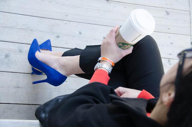 Cape, orange sweater, cobalt blue shoes, blue suede pumps, Zara court shoes