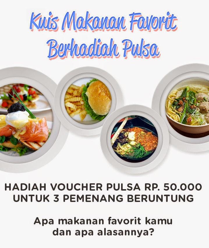 Kuis Makanan Favorit Berhadiah Pulsa Total 150K