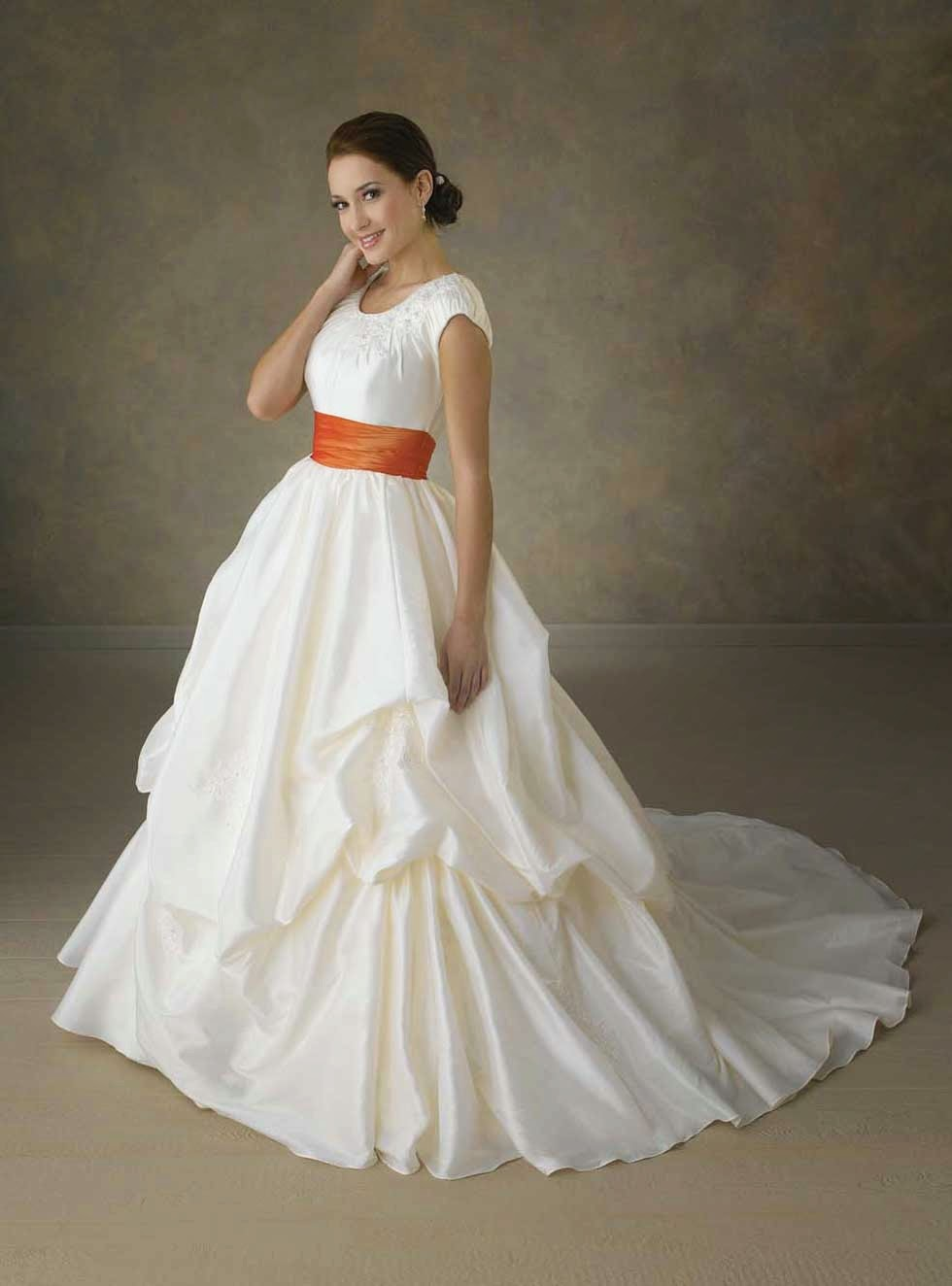 Wedding Dresses With Colored Sash Ideas Photos HD