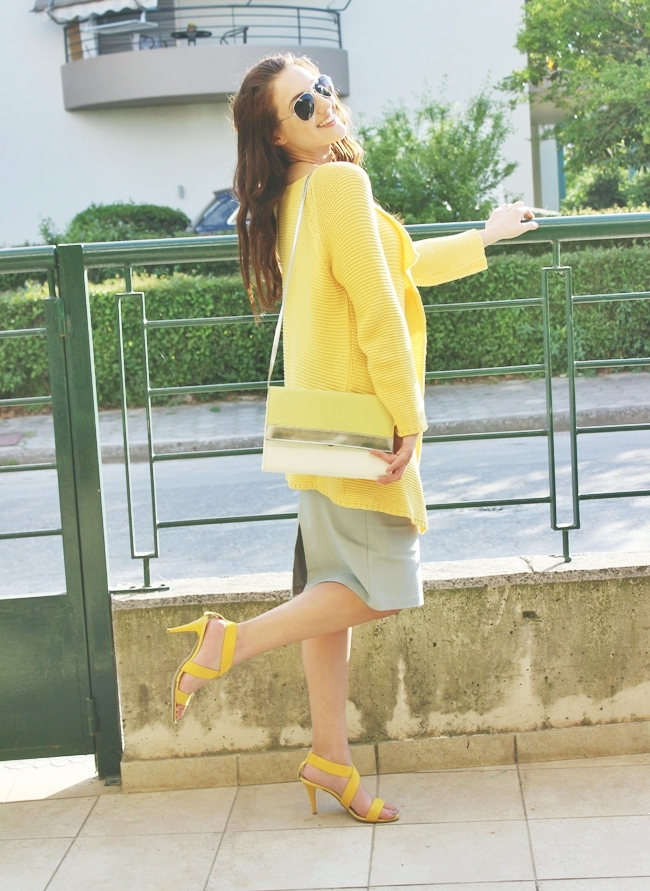Outfit:yellow & gray.Outfit:zuto i sivo.Best spring outfits.Figaro yellow cardigan.gray pencil skirt.Dragana Ognjenovic top.Simos Manos sandals.H&M purse and sunglasses.silver necklace